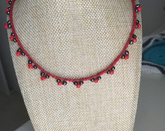 Red Crochet beaded neclace