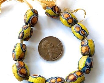 Matched Oval Trade Beads, Vintage Matched African Trade Beads, Trade Beads, Millefiori Beads x 12