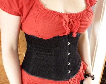 Underbust corset - black corduroy - made to your measurements