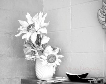 Still Life Photography, rustic flower photos, floral wall art, black & white home decor, Silk flower art print, large prints canvas,