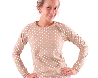 """Sweater """"Emma"""" with buttons//beige with cream dots"""