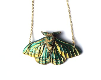 Green and Gold Moth Necklace - Resin Necklace - Resin Moth Pendant - Gothic Jewelry - Gothic Moth Necklace - Sculpted Necklace - Resin Art