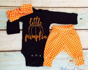 Halloween costume infant girl, Little Pumpkin, Layette, Baby Girl, newborn girl, Baby shower gift, gift for her, coming home outfit, girl