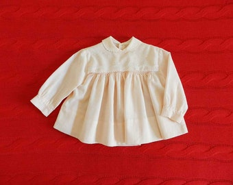 Baby Girl Blouse Peter Pan Collar Babydoll 70s Pink Embroidered Long Sleeve Shirt Toddle Girl 12-18 Months