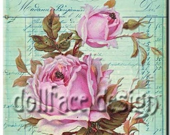 INSTANT digital DOWNLOAD - French Antique Rose - Printable Collage - Scrapbooking - Gift Tag - Art Print - ACEO - Download and Print