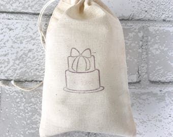 Birthday Cake Favor Bag Muslin Bag Rustic Party Favor First Birthday Party Thank You Jewelry Soap Bag