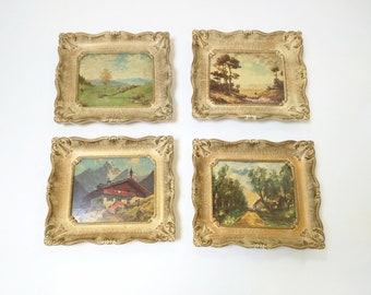 Vintage Turner Wall Art Set of Four Pictures Trees Mountains Homes, Cabin Wall Art, Cabin Decor