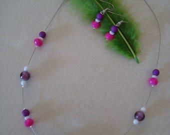 Pink and purple costume jewelery set