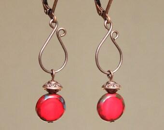 Red Earrings Copper Earrings Simple Elegant Dangle Czech Glass Earrings Boho Earrings Swirl Jewelry Valentine's day Gift Ideas Gift for her
