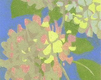Garden #9, original woodcut print