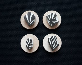 Matisse Cut Outs - 04 - Set of Four Hand-Carved Rubber Stamps