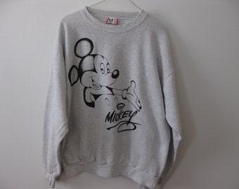 Vintage Mickey Mouse Sweatshirt Walt Disney Adult Mens Large