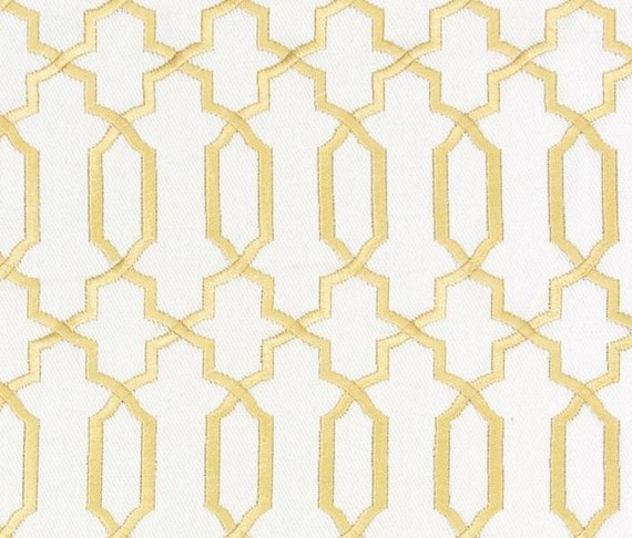 Contemporary Gold Fabric Geometric Gold White Embroidered