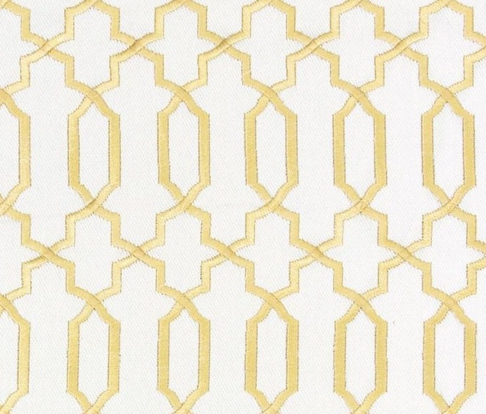 Contemporary Gold Fabric - Geometric Gold White Embroidered ...
