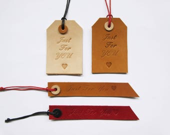 Leather Gift Tags, Hand-stamped Gift Tags