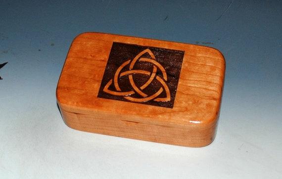 Triquetra Wooden  Box - Celtic Triangle Wood Box-Laser Engraved Cherry- Trinket Box-Stash Box-Jewelry Box by BurlWoodBox - Engraved Wood Box