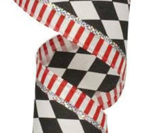 """2.5""""x10yards red and black harlequin ribbon, red black silver harlequin ribbon, wired harlequin ribbon, harlequin ribbon, red and black"""