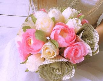 pink wedding bouquet, ivory flowers, pink bride bouquet, ivory paper flowers,crepe paper bouquet,ivory wedding bouquet,pink peony,pink roses