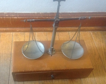 Vintage  Balance Beam Scale, Apothecary Scale, Weight, Weighing, Scale, Art, Collector, Brass Weights, Brass