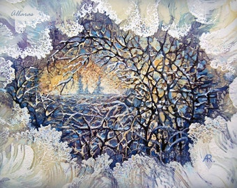 Silk Painting Picture  - Frosty Morning. Original Painting on Silk. One of a kind Artwork. 22.5 x 30 cm. Ready to ship.