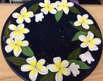 Lazy Susan Painted with Frangipani Flowers