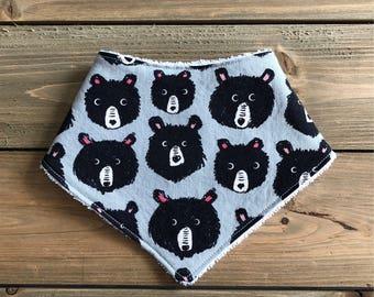 Baby Bandana Bib - Teddy and the Bears Print - Cotton Bandana Bib - Baby Shower Gift - Bear Bandana Bib