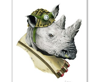 Rocksteady Print - TNMT - Rhino art - Ninja Turtles - Pop Culture Art - Animal Portrait - Limited Edtion Print by Ryan Berkley