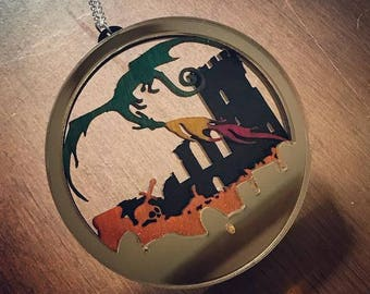 Layered Diorama Necklace - Dragons Lair