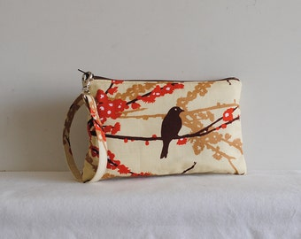 Square Wristlet Zipper Pouch - Sparrows in Bark