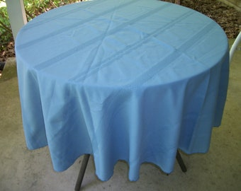 "Vintage tablecloth  blue 70"" round"