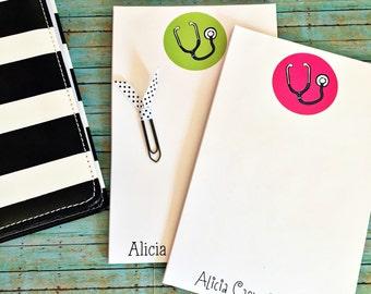 Nurse Note Pad - Nurse Notepad - Monogrammed Note Pad -  stethoscope note pad - Personalized Note Pads - Nurse gift