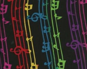 Shamash & Sons Quilting Cotton Fabric Black Music 130552 - 1/2 Yard