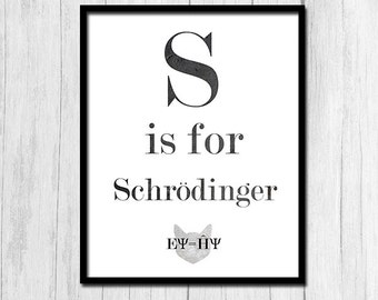 Physics Poster Digital Download Science Poster Schrodinger's Cat Physics Teacher Gift Science Teacher Gift Nerdy Poster Alphabet Poster