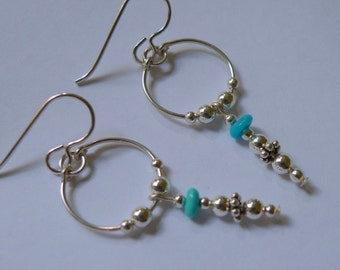Sterling Silver Sleeping Beauty Turquoise Hoop Dangle Earrings