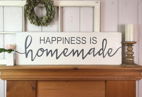 Happiness is homemade kitchen wall decor rustic wood sign
