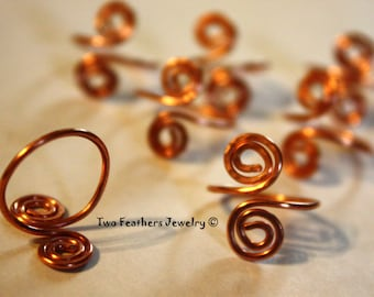 Copper Spiral Toe Ring - Copper Toe Ring - Double Spiral - Native Inspired - Petroglyph Symbol - Boho - Adjustable - Two Feathers Jewelry