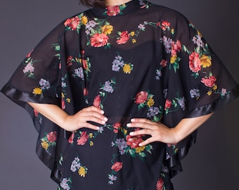 70s Vintage Sheer Floral Print Cape in Black