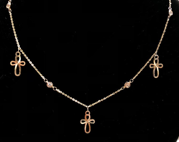 Diamond and Cross Necklace in 14k Gold