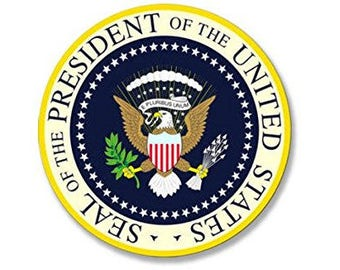 Seal Of The President of the United States Sticker (yellow blue presidential logo)