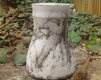 Not Ordinary.  Horse Hair RAKU Vase for your Spring Blooms from APotteryPlace.