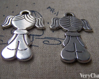 6 pcs Antique Silver Flat Pigtail Girl Charms 25x38mm A1541