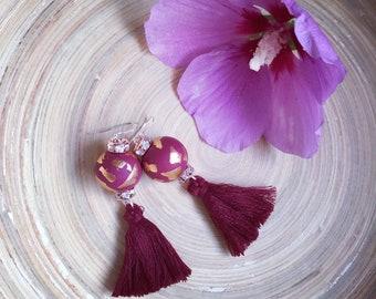 Burgundy earrings