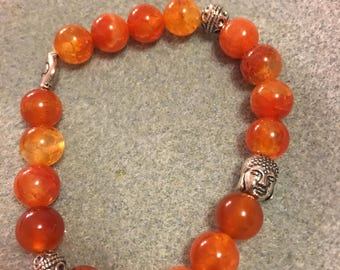 Fire dyed agate with silver plated accents