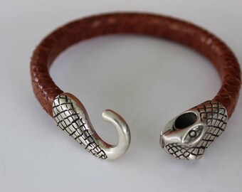 Silver Snake and Brown Leather Bracelet