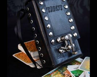 TAROT CARD CASE -Black leather tarot pouch- tooled leather bag- leather card case-gothic style pouch-leather tarot case