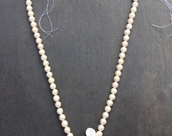 Faceted Round White Freshwater Pearl  Beads 6-7 mm