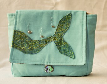 Blue and Gold Mermaid Tail Blue Linen Purse/Clutch/Make-up Bag Ready To Ship