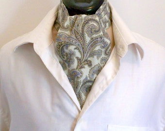 Man's Ascot, Casual Day Cravat, Sage Green Paisley, Cotton Fabric Tie, Trendy Fashion, Made To Order