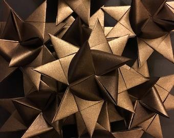 13 Medium Bronze Shimmer German Paper Stars Quick Order Ready to Ship Moravian Stars Star Ornaments