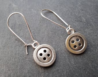 Cute Button Earrings on silver plated kidney wires